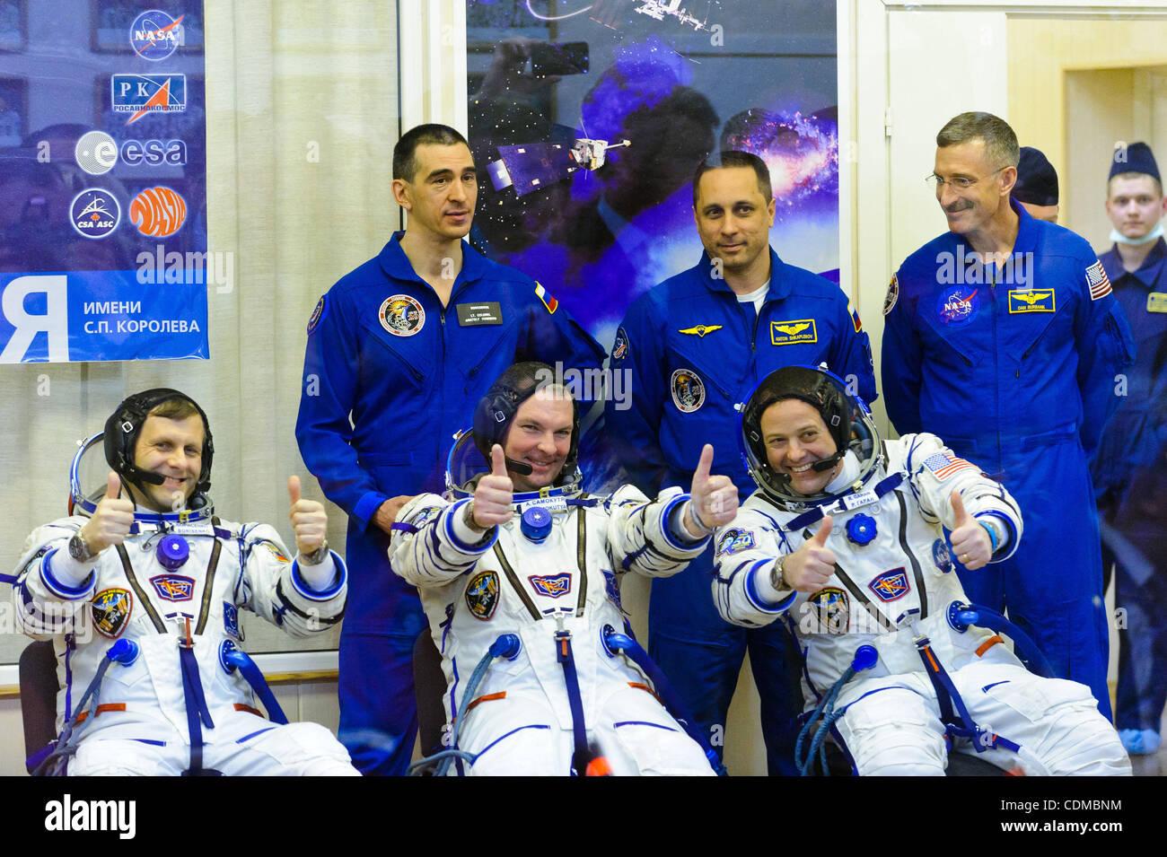 Launch of Russia`s Soyuz TMA-21 spacecraft at Baikonur Cosmodrome in Kazakhstan.Pictured: Crew of the Soyuz TMA - Stock Image