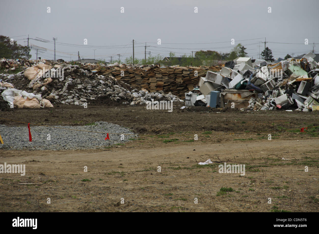 May 04, 2011 - Ishinomaki, Miyagi, Japan - Next to the campus of Senshu University in Ishinomaki City in Miyagi - Stock Image