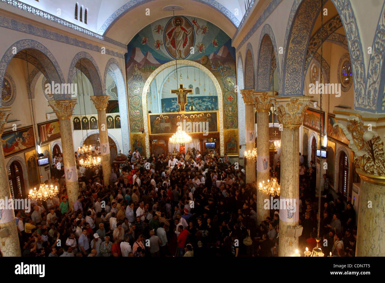 May 08, 2011 - Cairo, Egypt - Egyptian Coptic Christians mourn during the funeral of a victim of sectarian clashes. - Stock Image