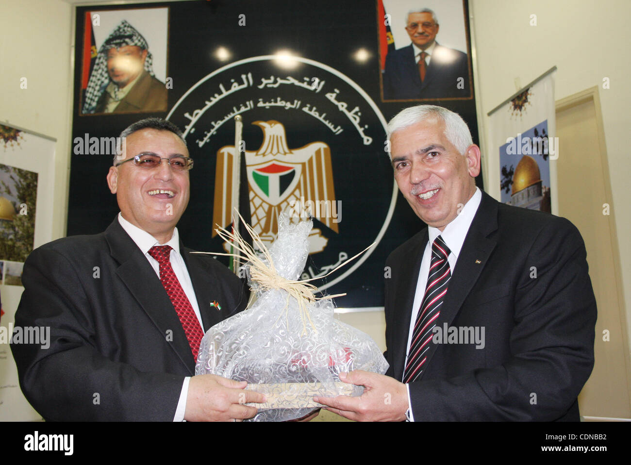 Palestinian Hebron governor, Kamel Hamed honors journalists in occasion of Journalist Day at the Governorate of - Stock Image