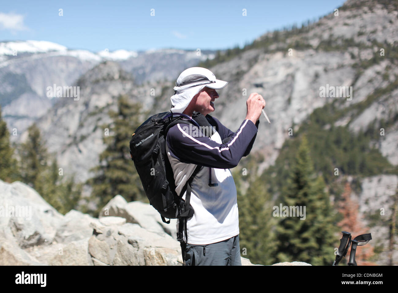 Each year more than 3 million tourists come to Yosemite National Park many of which leave with snap shots taken - Stock Image
