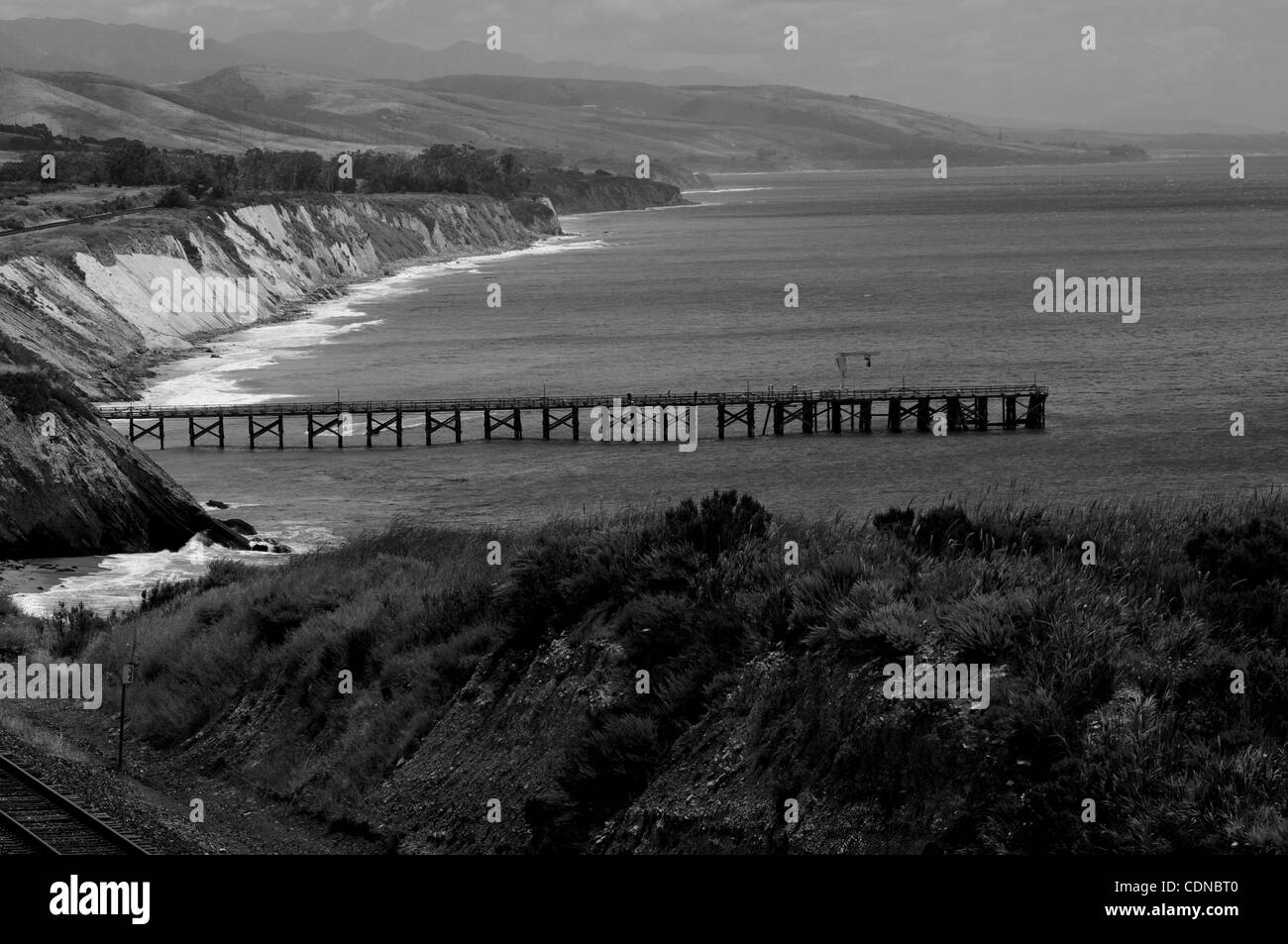 The Pier at Gaviota State Beach Park stretches out into the Pacific Ocean in Gaviota,CA. on May19, 2011.(Credit Stock Photo