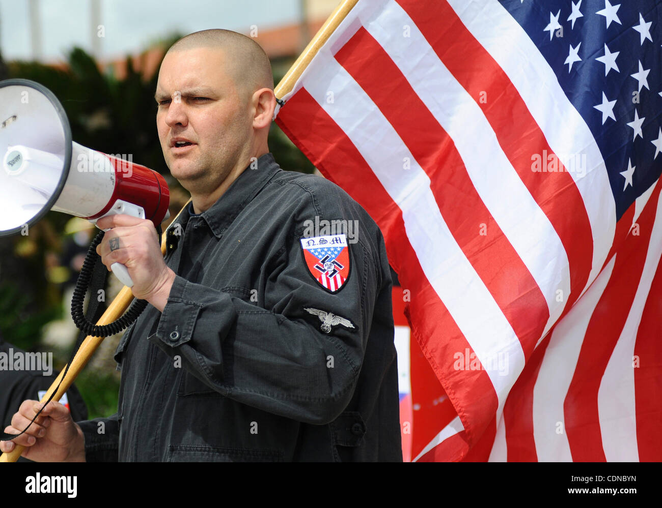 Neo-Nazi leader Jeffrey Hall, seen leading a rally in Claremont, California in March of 2011, was shot to death Stock Photo