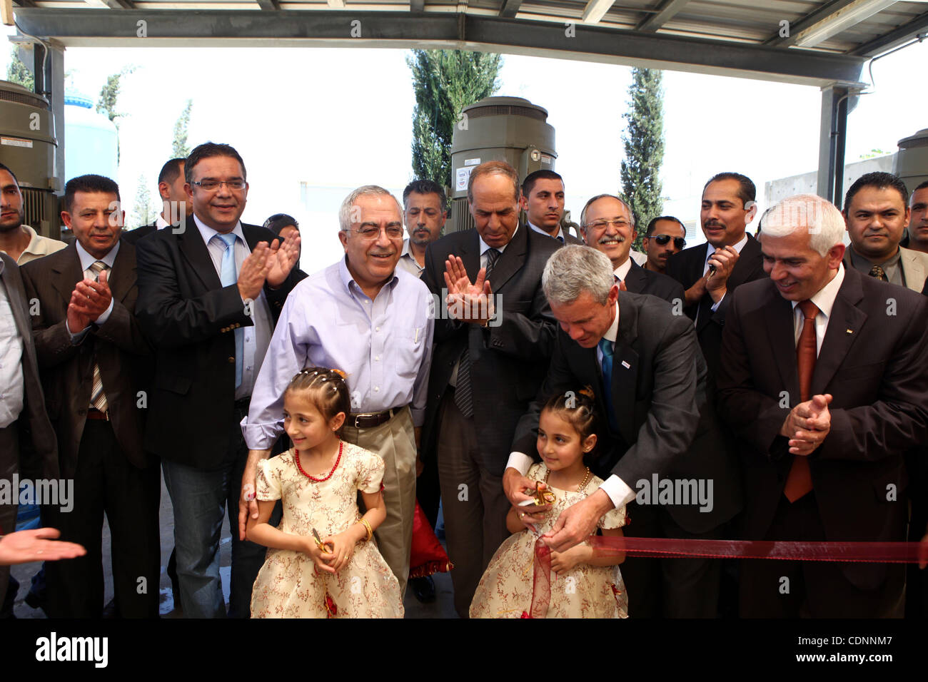 Palestinian prime minister Salam Fayyad attends the inauguration ceremony for well stations rehabilitation project - Stock Image
