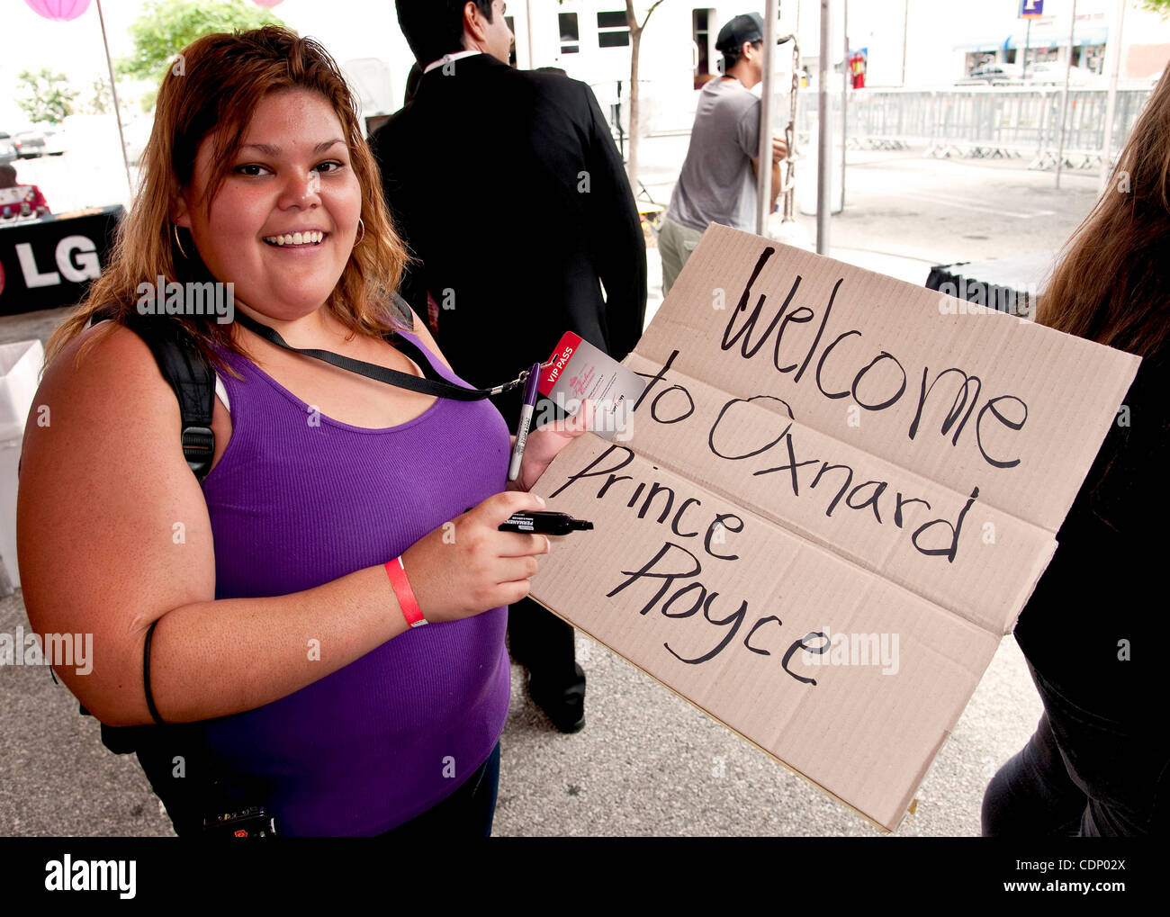 July 09 2011 oxnard california usa a fan writes a welcome july 09 2011 oxnard california usa a fan writes a welcome sign in preparation for a meet and greet with latin recording sensation prince royce at a m4hsunfo