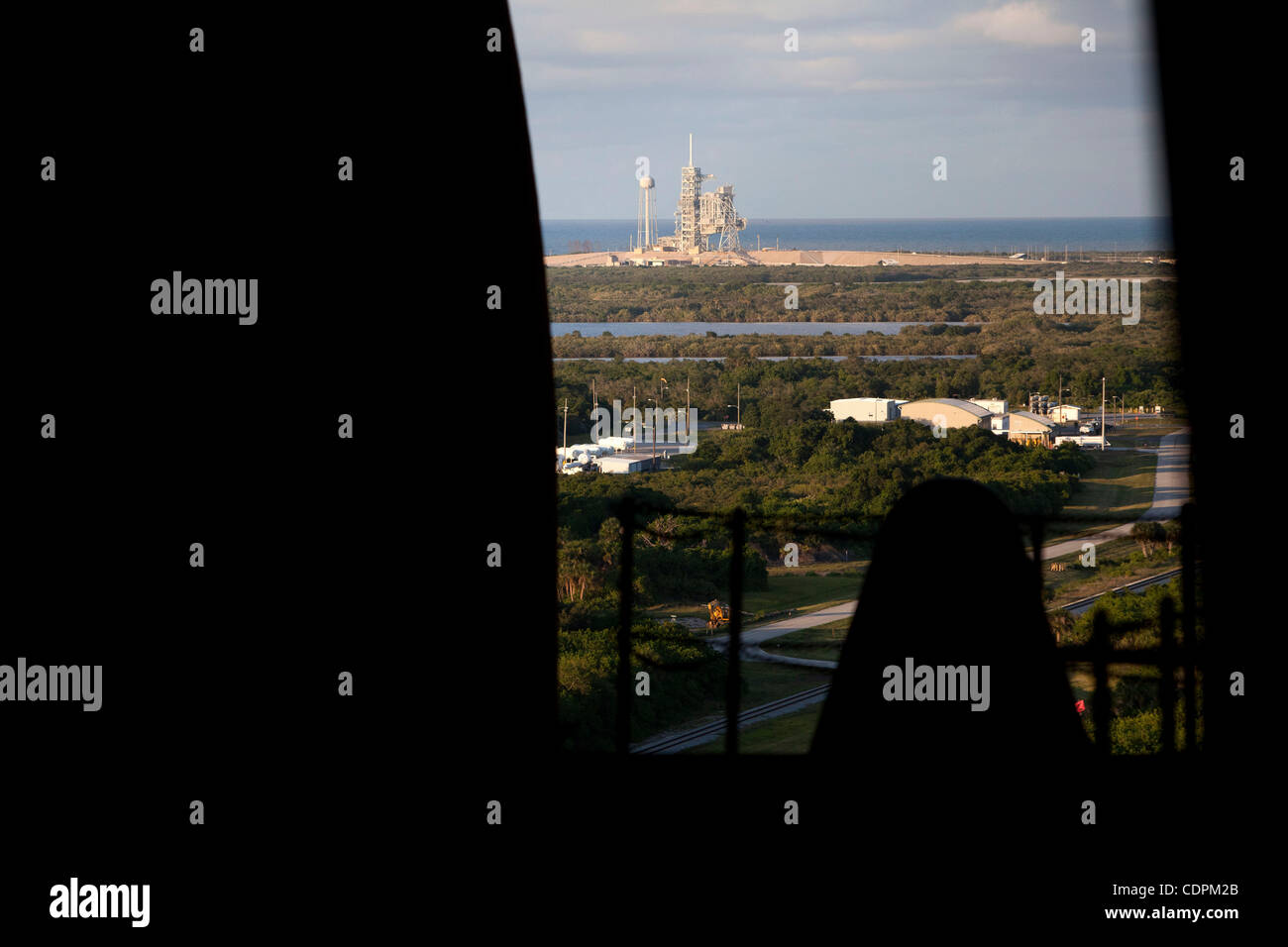 Cape Canaveral, Florida US - Pad 39A is visible through the open doors of the Vehicle Assembly Buidling on Tuesday, - Stock Image