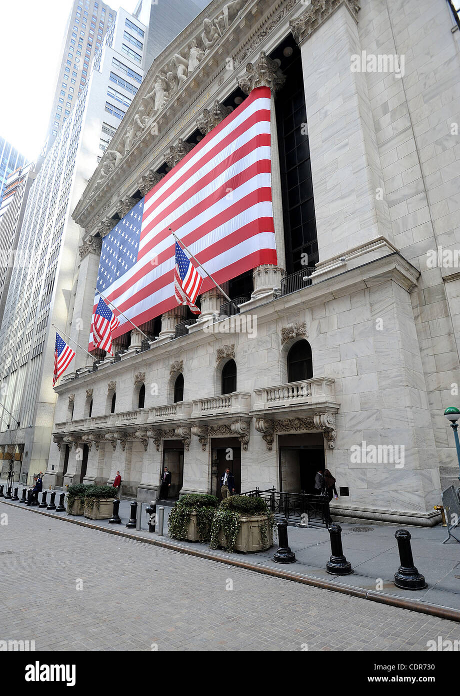 May 25, 2011 - New York, New York; USA - The New York Stock Exchange located in New York City with an American Flag, - Stock Image
