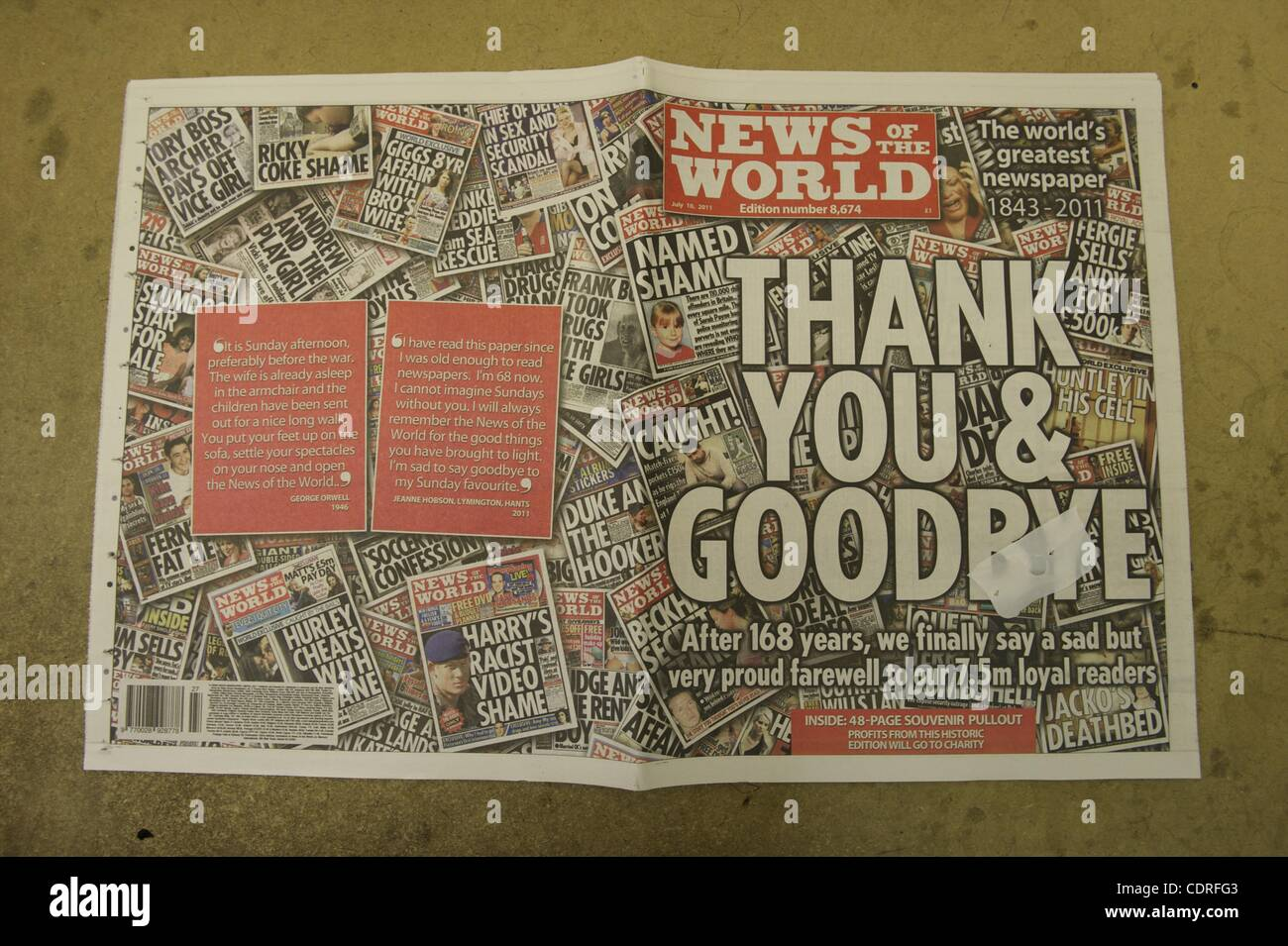 July 9, 2011 - London, England, United Kingdom - The cover of the last edition of  The News of the World, closing - Stock Image