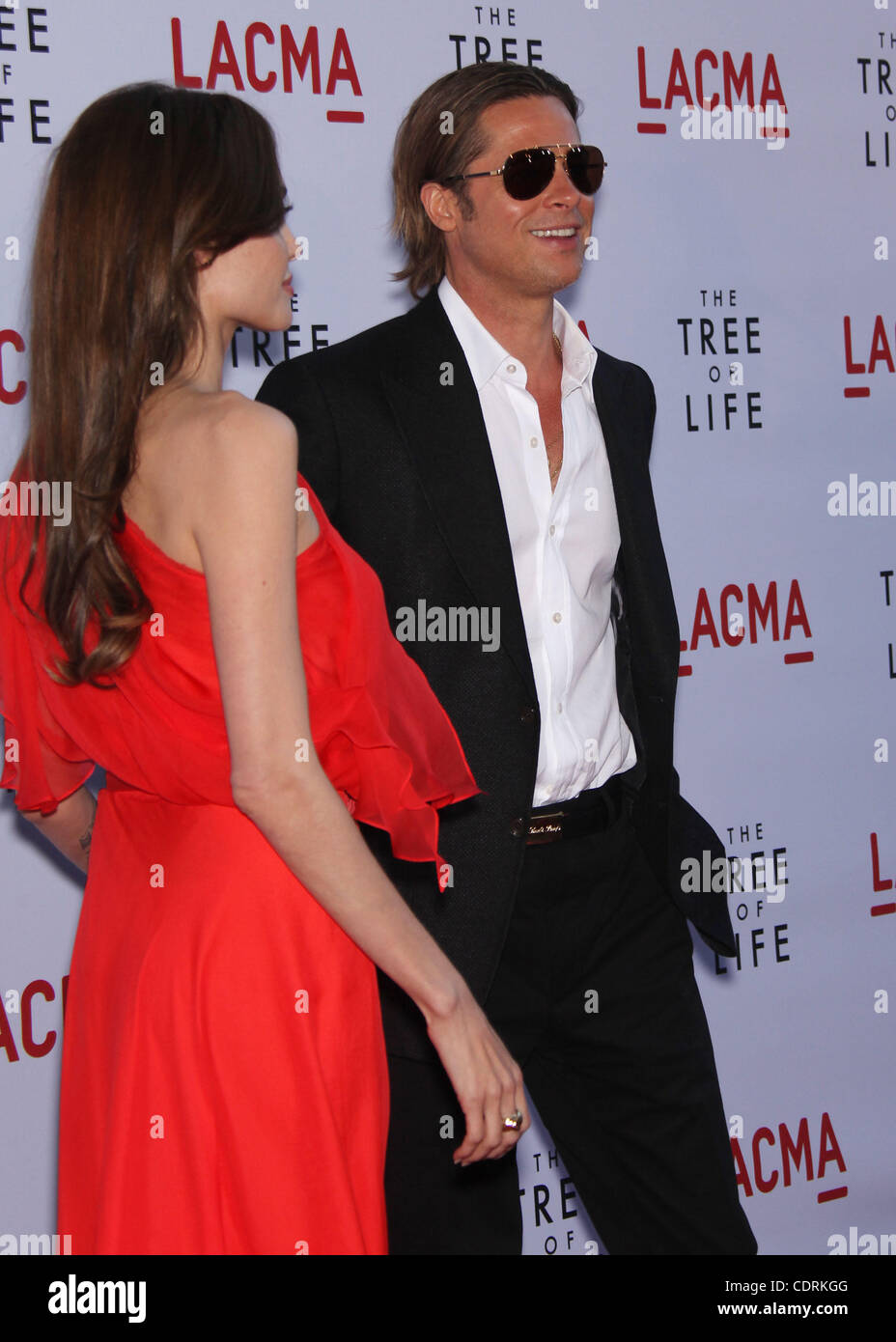 May 24, 2011 - Los Angeles, California, U.S. - ANGELINA JOLIE & BRAD PITT arrives for the premiere of the film - Stock Image