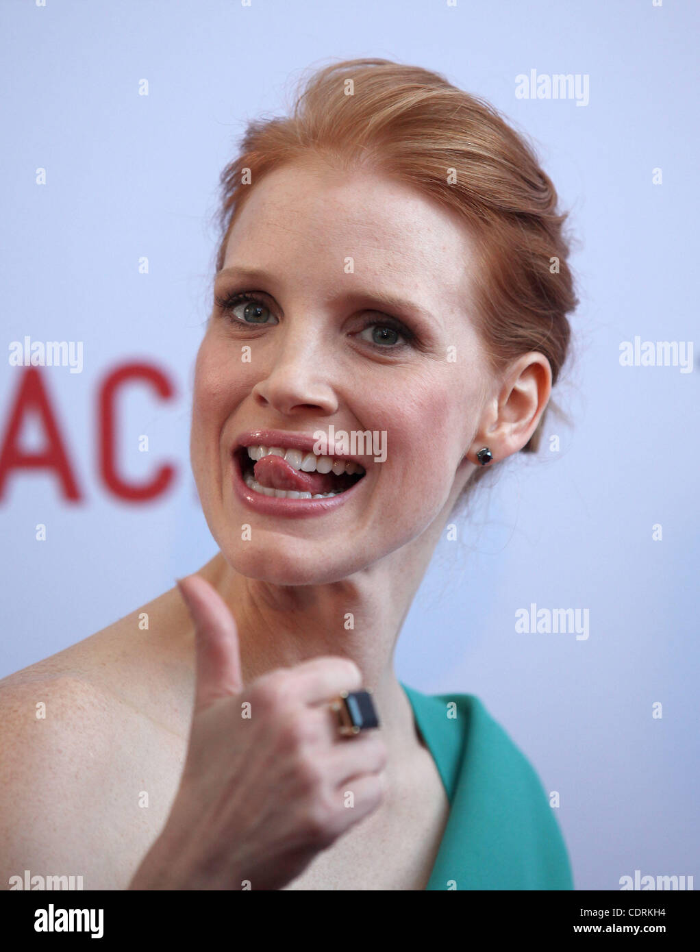 May 24, 2011 - Los Angeles, California, U.S. - JESSICA CHASTAIN arrives for the premiere of the film 'Tree Of - Stock Image