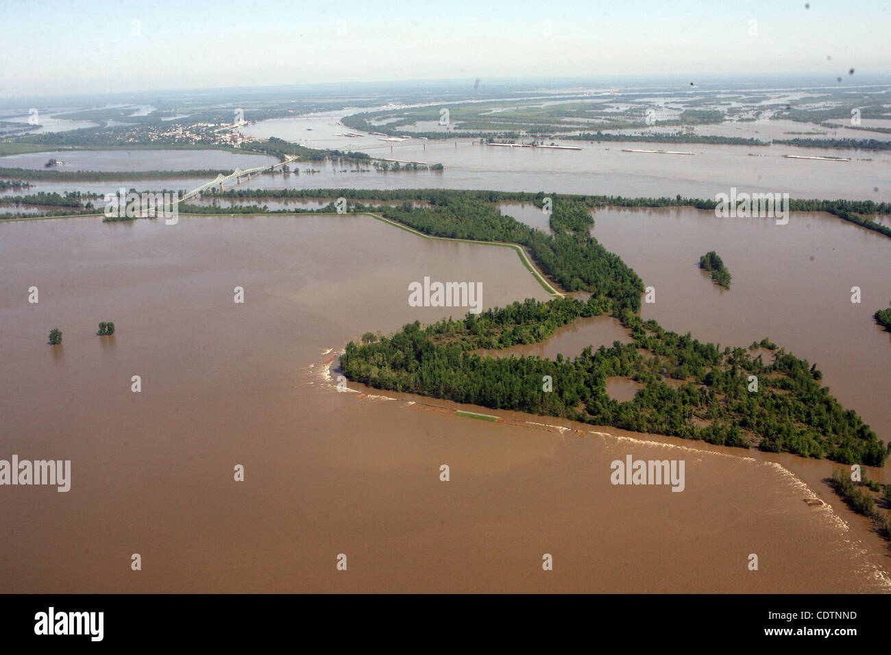 May 03, 2011 - Missouri, U S  - Water rushes through the breach in