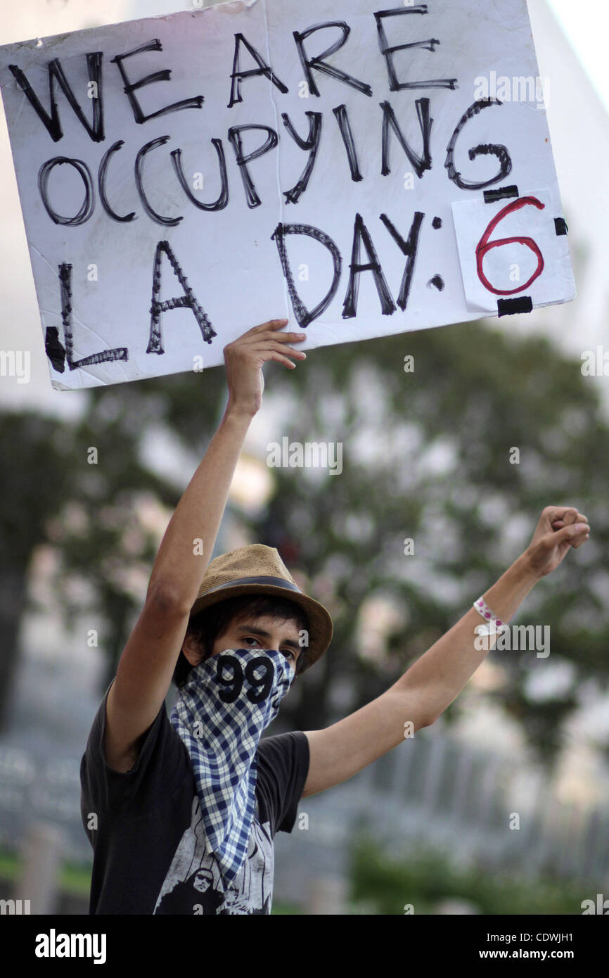 Oct. 6, 2011 - Los Angeles, California, U.S - Day six of the Los Angeles portion of the Occupy movement against - Stock Image