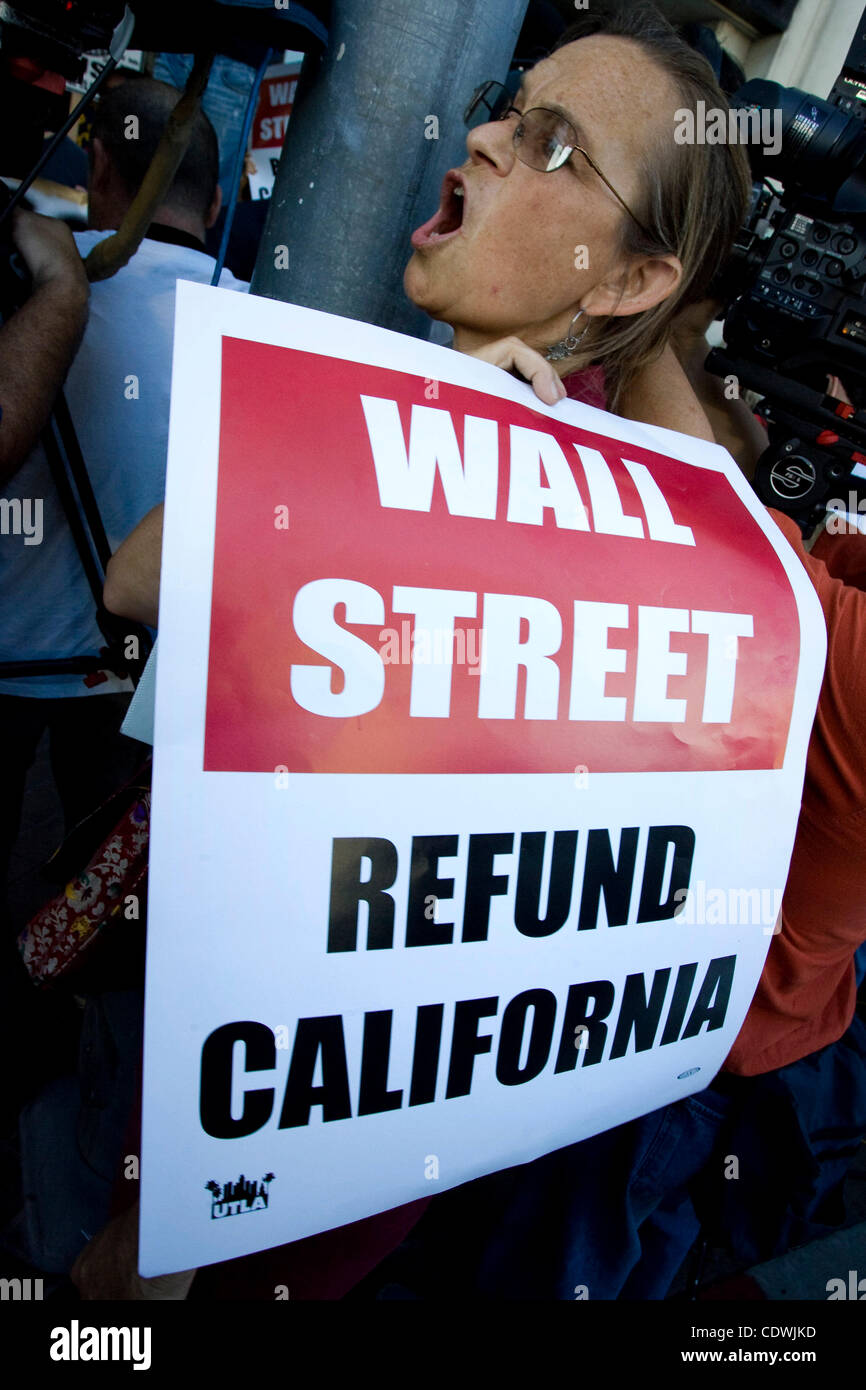 Oct. 18, 2011 - Los Angeles, California, U.S - A teacher joins other teachers and school employees along with Occupy - Stock Image