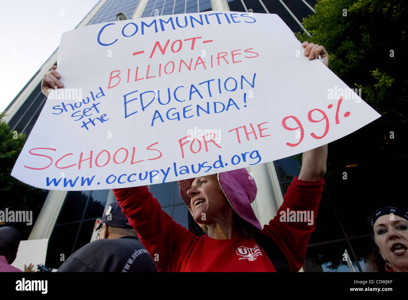 Oct. 18, 2011 - Los Angeles, California, U.S - Parents, teachers and school employees join with Occupy LA protestors - Stock Image