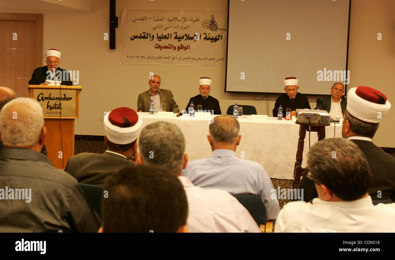 Palestinians take part in a conference about Jerusalem at Ambassador hotel in east Jerusalem on Sept. 29,2011. Israel - Stock Image