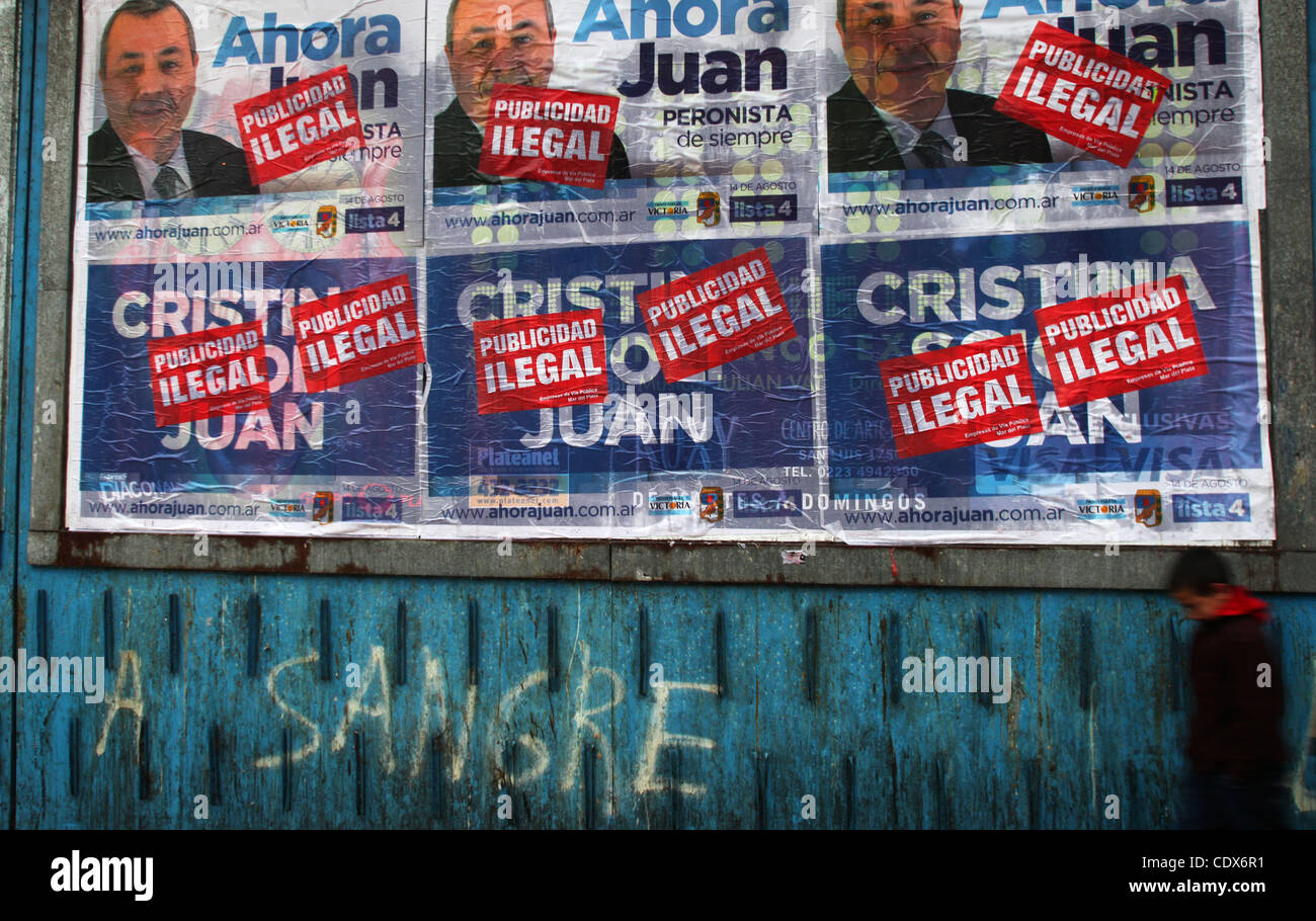Aug 09, 2011 - Buenos Aires, Buenos Aires, Argentina - Election propaganda as Argentina prepares to vote this month. - Stock Image