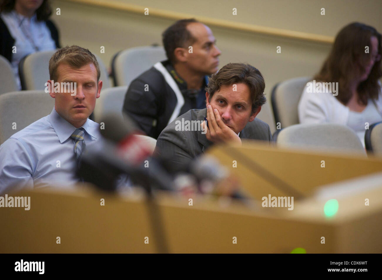 KTLA news reporter Jaime Chyambers  The guy at left is from