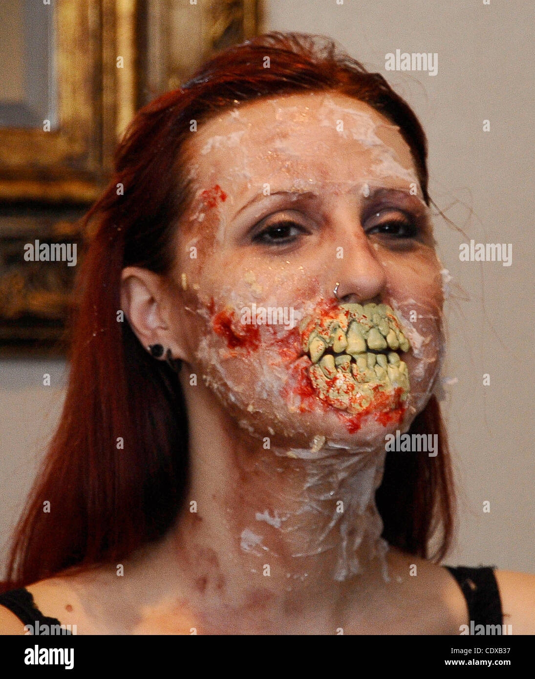 Model Mandi Moss is transformed into a zombie with just using house hold products in 30 minutes during the worldÕs Stock Photo