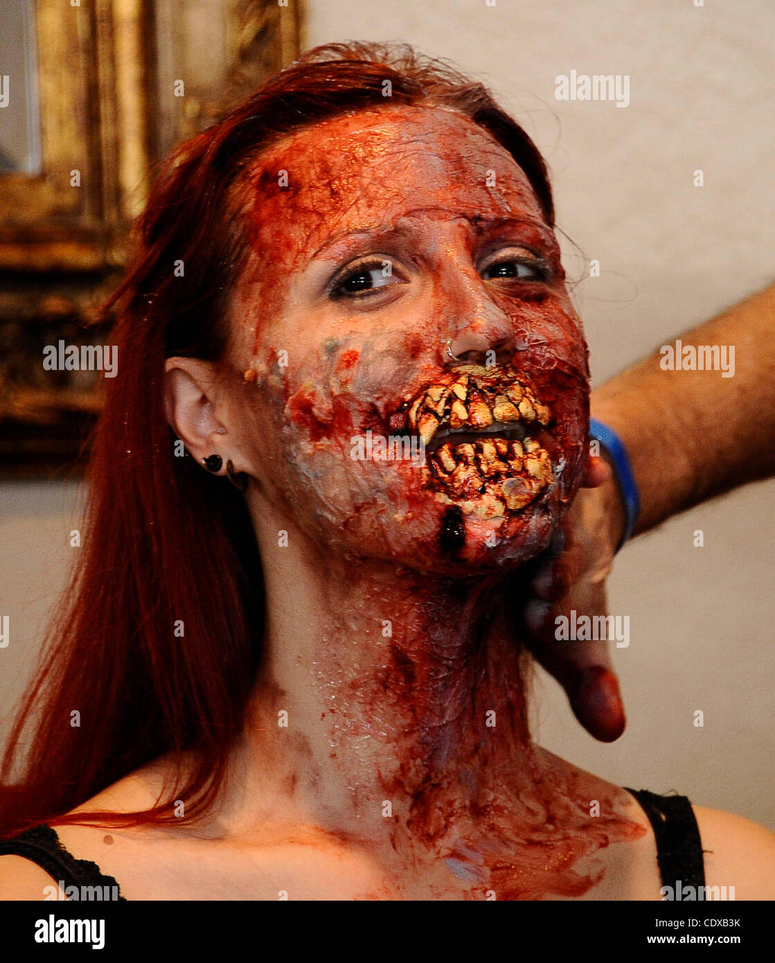 Model Mandi Moss is transformed into a zombie with just using house hold products in 30 minutes during the worldÕs - Stock Image