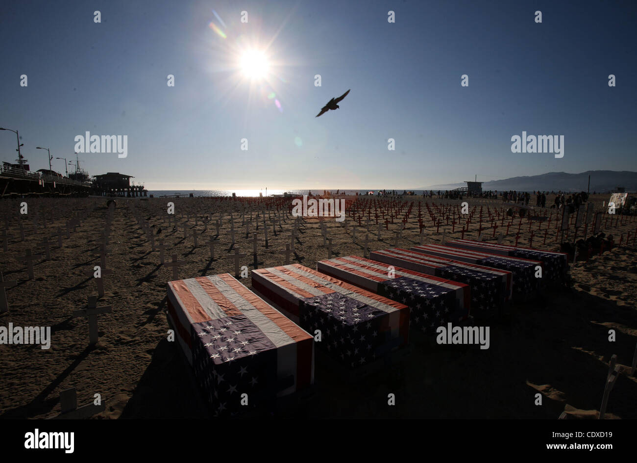 Oct. 9, 2011 - Los Angeles, California, U.S. - Crosses and coffins are seen at the Arlington West War memorial in - Stock Image