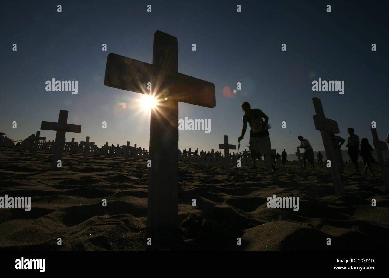 Oct. 9, 2011 - Los Angeles, California, U.S. - Crosses at the Arlington West War memorial in Santa Monica, California - Stock Image