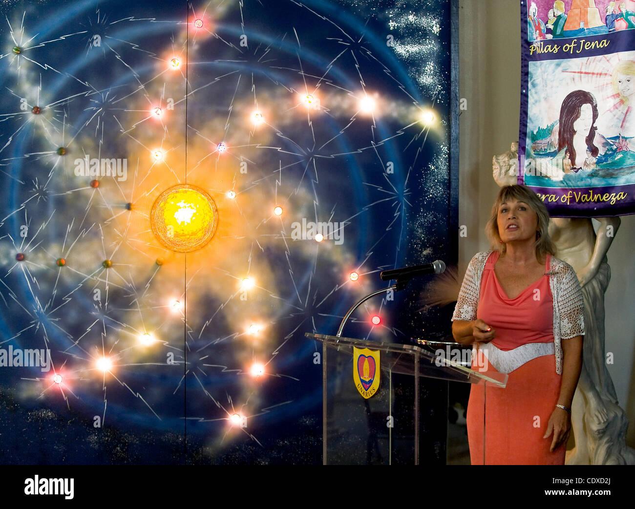 Oct. 15, 2011 - El Cajon, California, USA -  Lani Calvert speaks about life on the planet Deva at the Unarius Academy - Stock Image