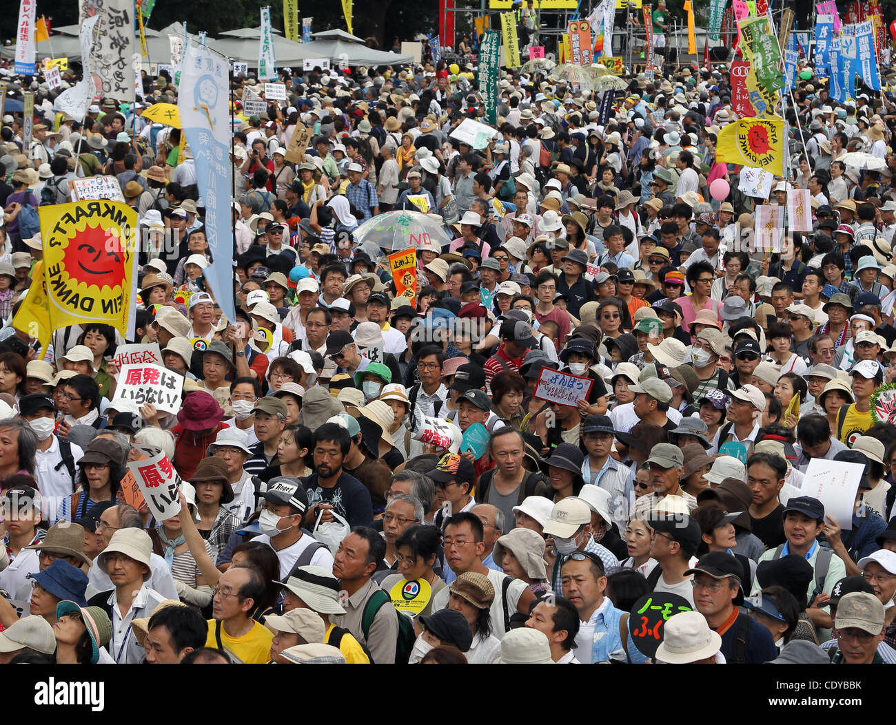 Sept. 19, 2011 - Tokyo, Japan - Thousands of anti-nuclear power people protest during NO NUKES MORE HEARTS 9.19 - Stock Image