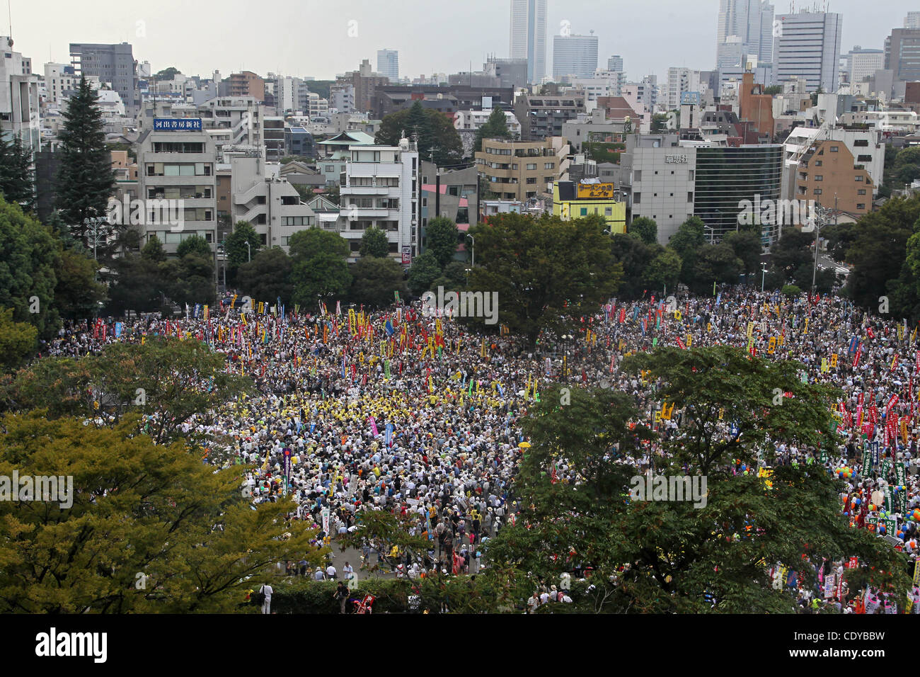 Sept. 19, 2011 - Tokyo, Japan - Thousands of an anti-nuclear protest demonstrate during NO NUKES MORE HEARTS 9.19 - Stock Image