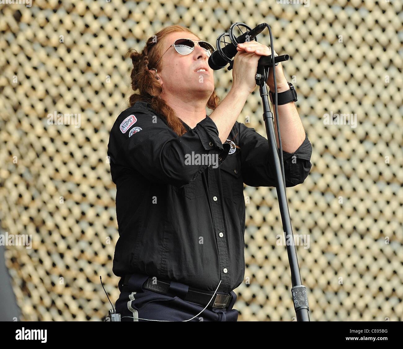 Aug 5, 2011 - Chicago, Illinois; USA - Singer MAYNARD JAMES KEENAN of the band A Perfect Circle performs live as - Stock Image