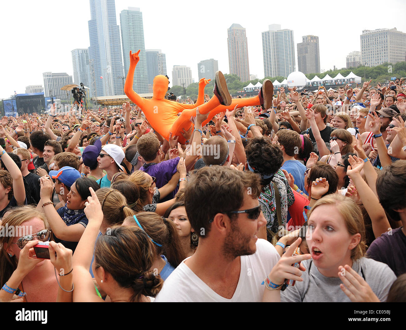 Aug 5, 2011 - Chicago, Illinois; USA - General Atmosphere as part of the 20th Anniversary of the Lollapalooza Music - Stock Image