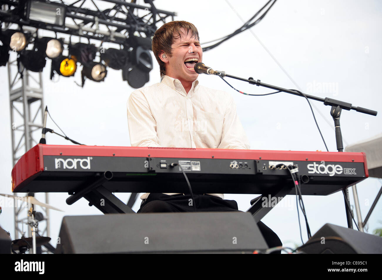 Aug 5, 2011 - Chicago, Illinois; USA - Musician MARK FOSTER of the band Foster The People performs live as part - Stock Image