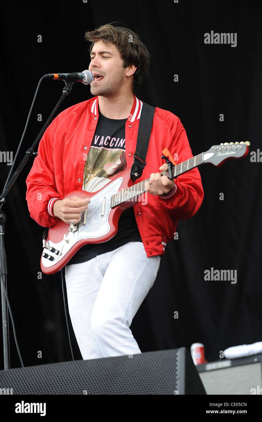 Aug 5, 2011 - Chicago, Illinois; USA - Musician JUSTIN YOUNG of the band The Vaccines performs live as part of the - Stock Image