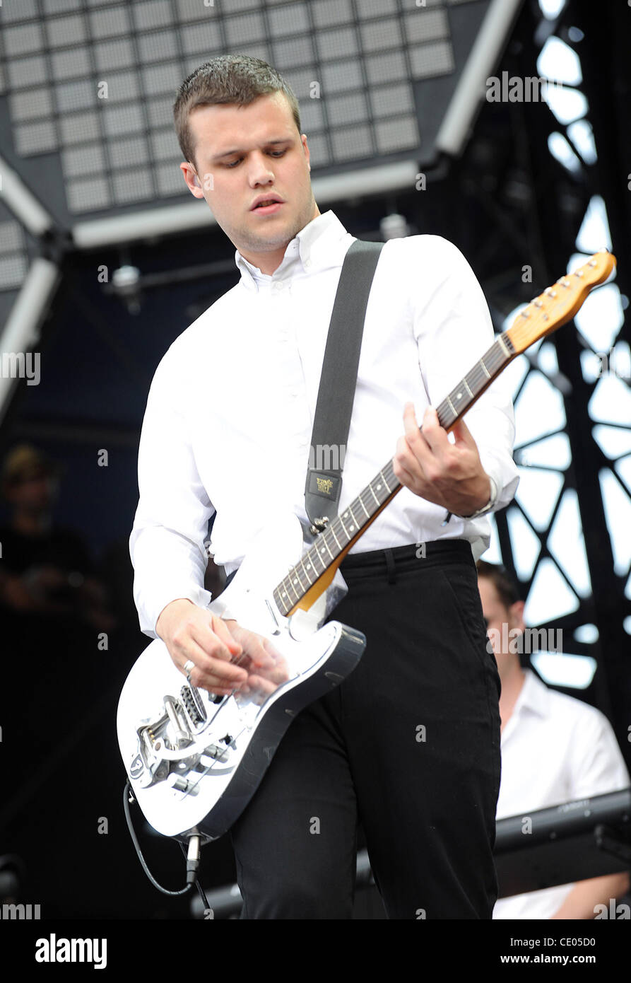 Aug 5, 2011 - Chicago, Illinois; USA - Singer / Guitarist HARRY McVEIGH of the band White Lies performs live as - Stock Image