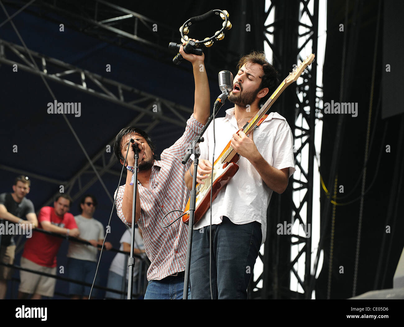 Aug 5, 2011 - Chicago, Illinois; USA - Singer SAMEER GADHIA and Guitarist ERIC CANNATA of the band Young The Giant - Stock Image