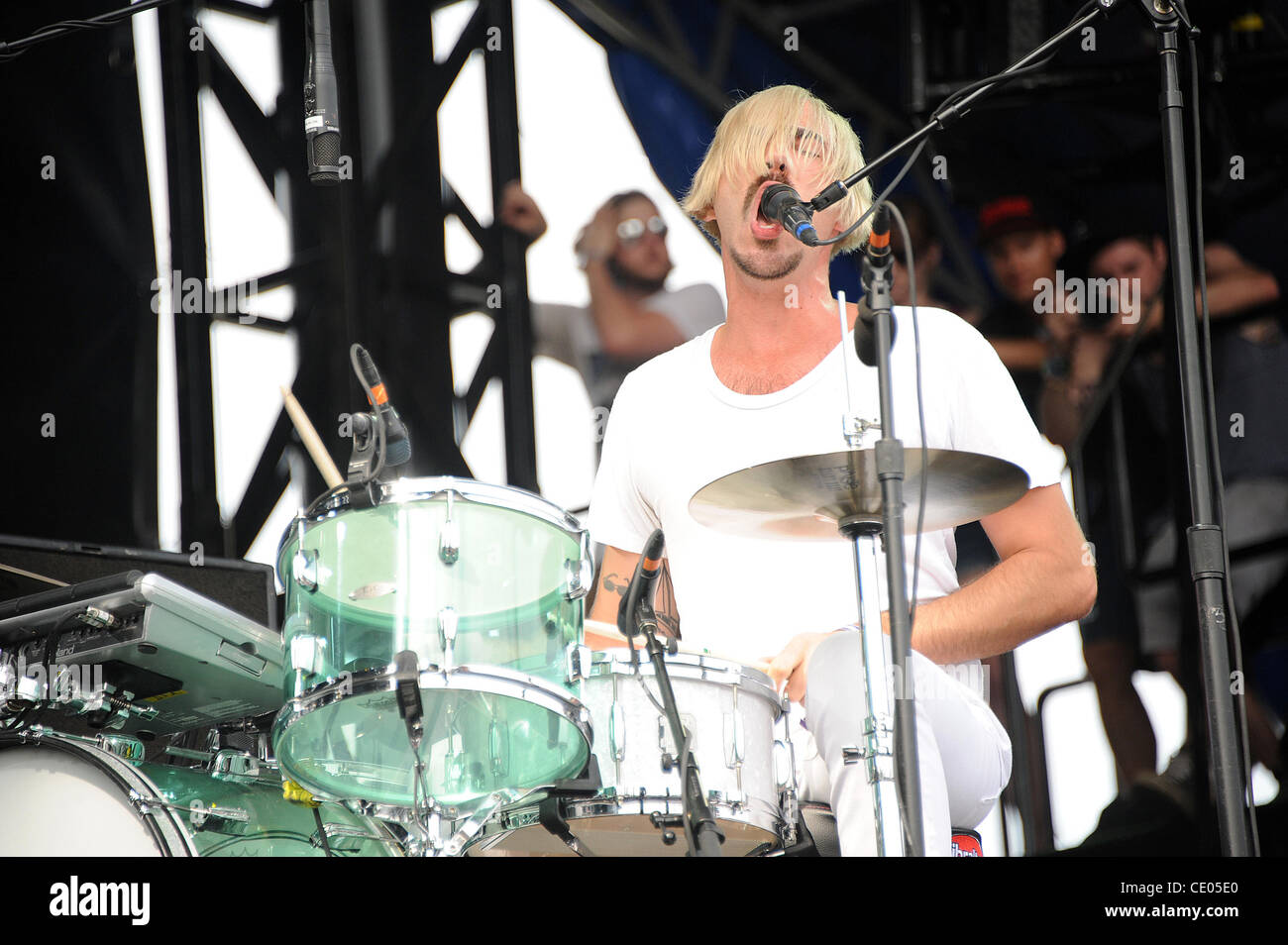 Aug 6, 2011 - Chicago, Illinois; USA - Drummer SEBASTIAN GRAINGER of the band Death From Above 1979 performs live - Stock Image