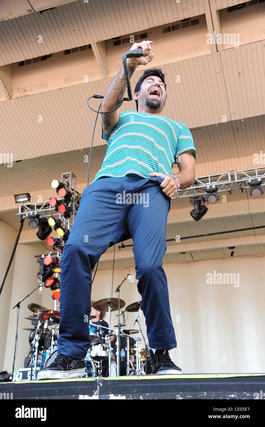 Aug 6, 2011 - Chicago, Illinois; USA - Singer CHINO MORENO of the band DEFTONES performs live as part of the 20th - Stock Image