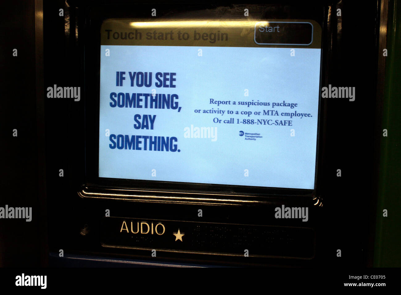 If You See Something Say Something security message in the subway. - Stock Image