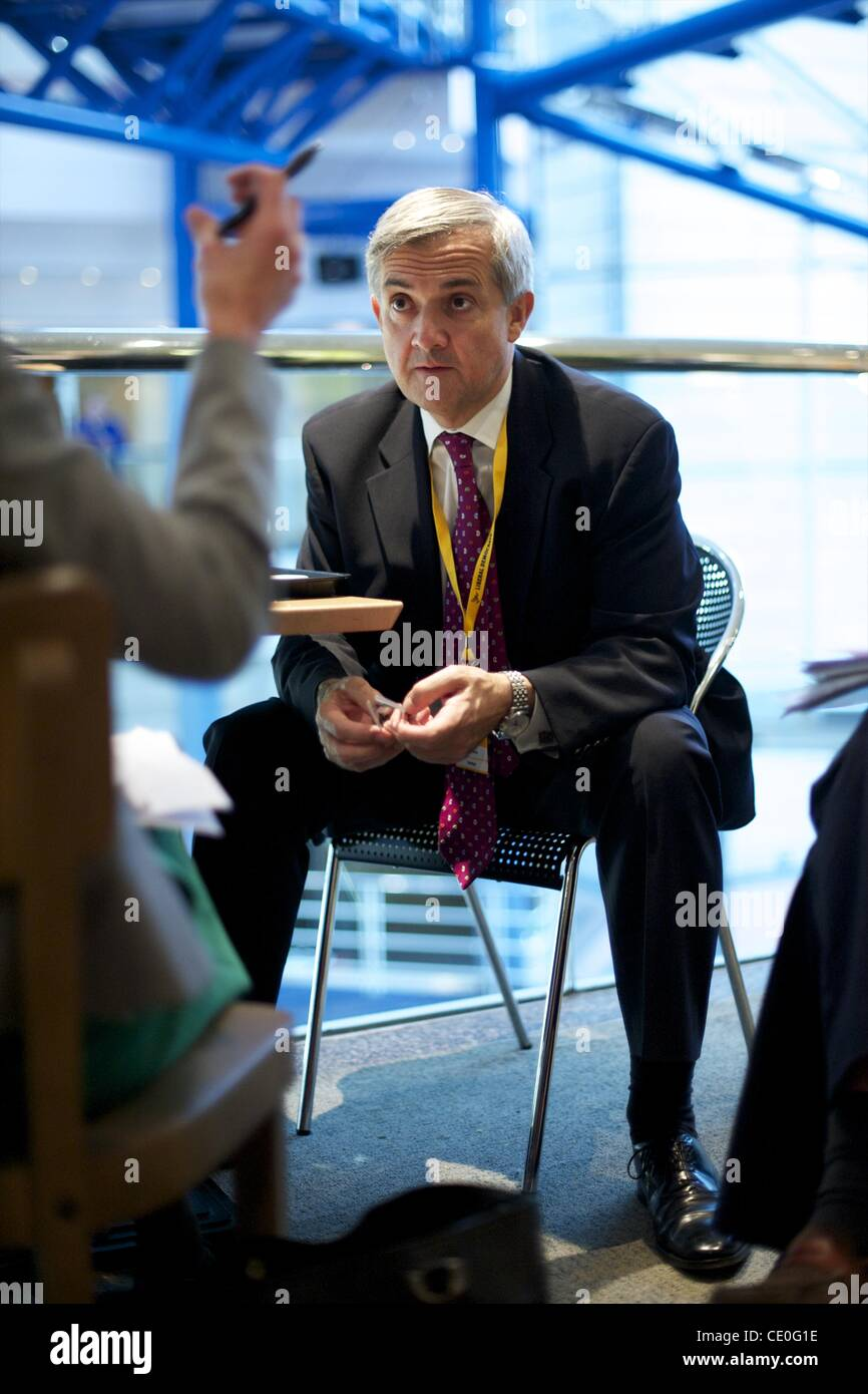 Sept. 19, 2011 - Birmingham, England, UK - Secretary of State for Energy and Climate Change CHRIS HUHNE confers - Stock Image