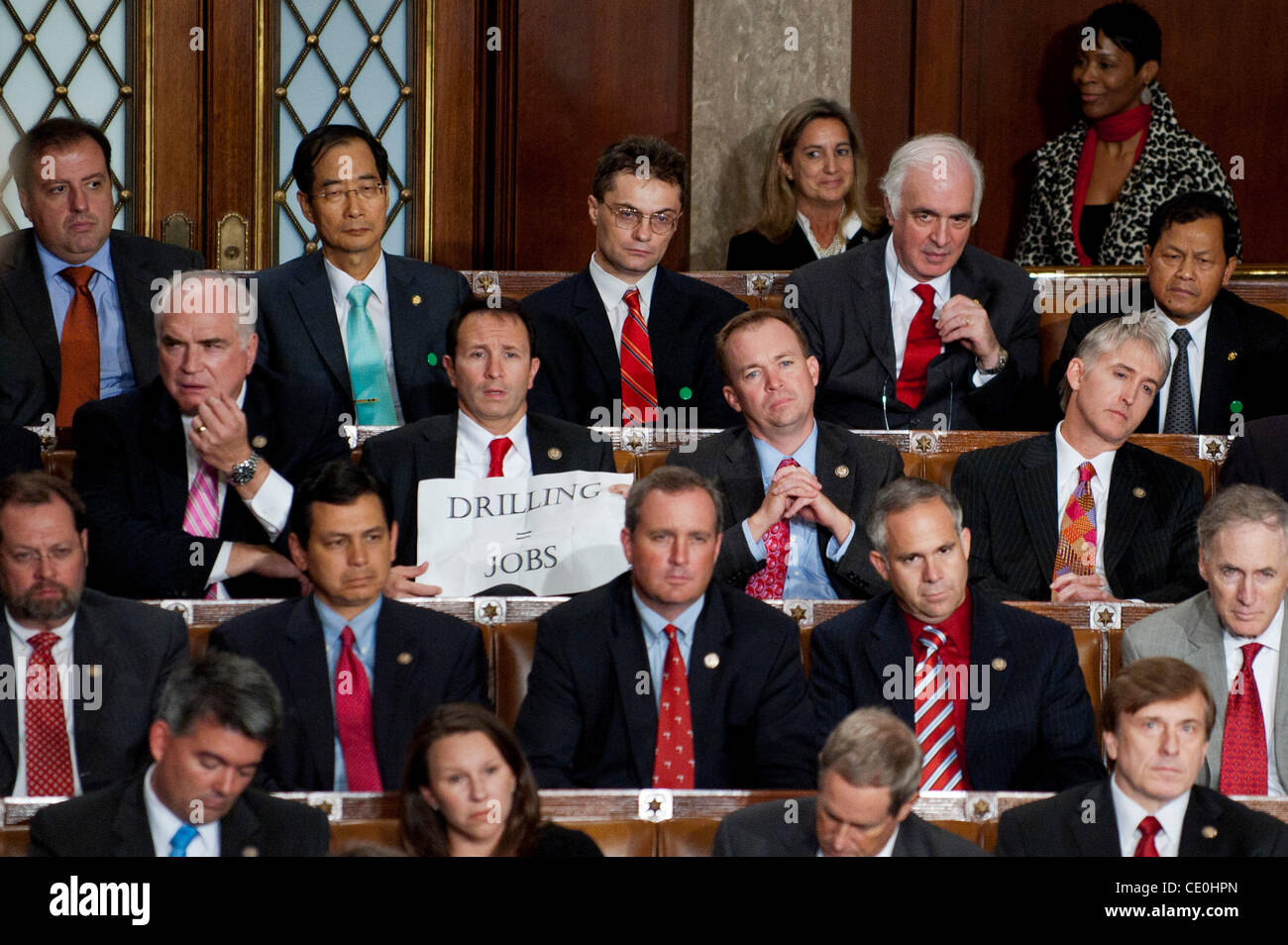 Sept. 8, 2011 - Washington, District of Columbia, U.S. - Rep. JEFF LANDRY (R-LA) holds up a sign saying drilling Stock Photo