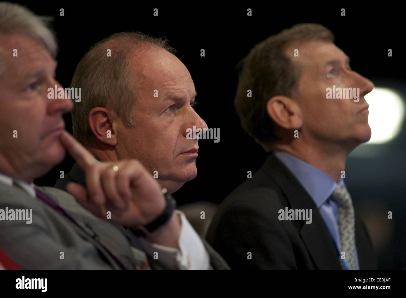 Oct. 4, 2011 - Manchester, England, UK - Minister of State of Immigration DAMIAN GREEN listens to speeches during - Stock Image