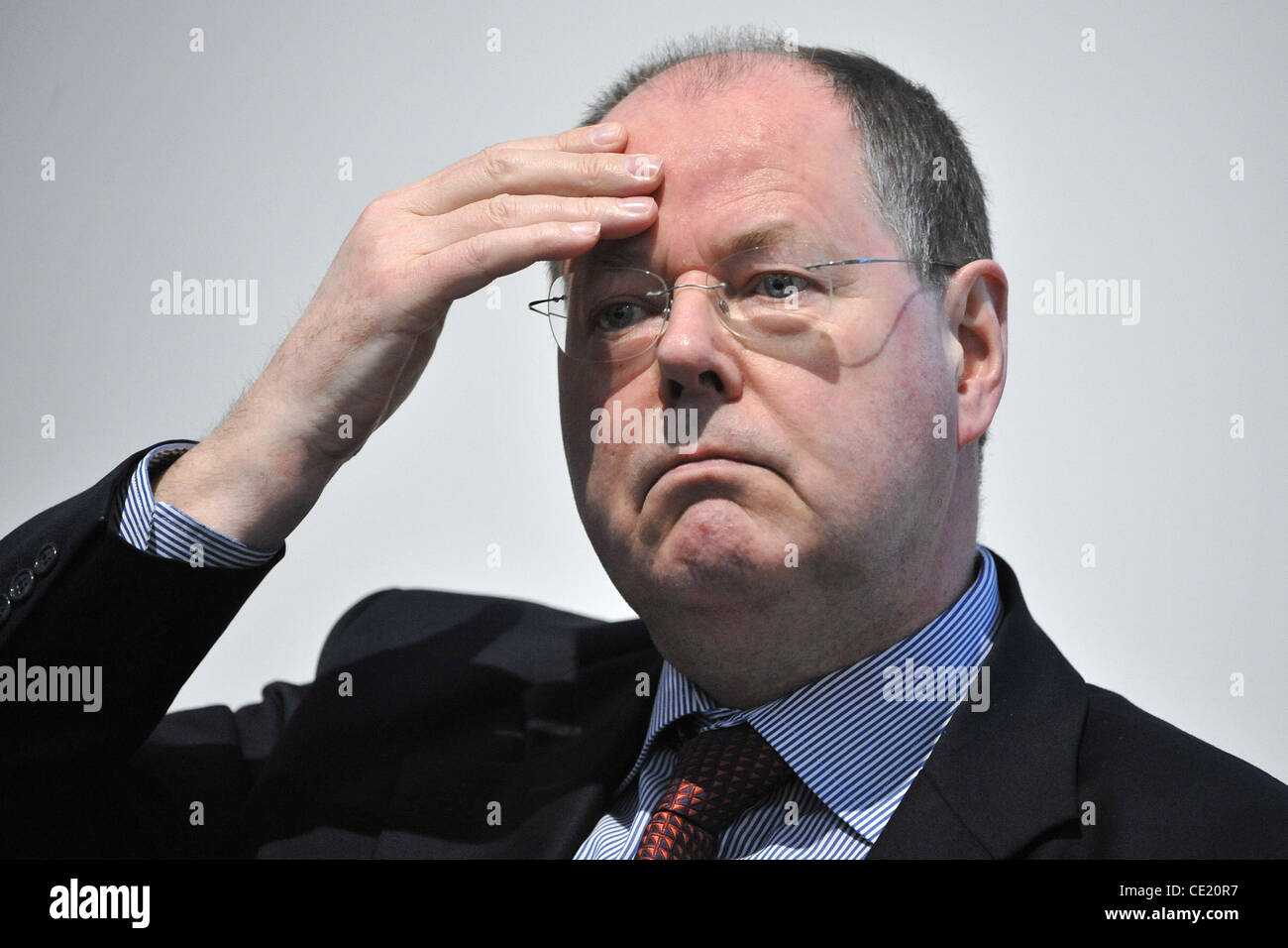 Peer Steinbrueck reads from his book 'Unterm Strich' at 'Boerse' at Messe Dresden. Dresden, Germany - Stock Image