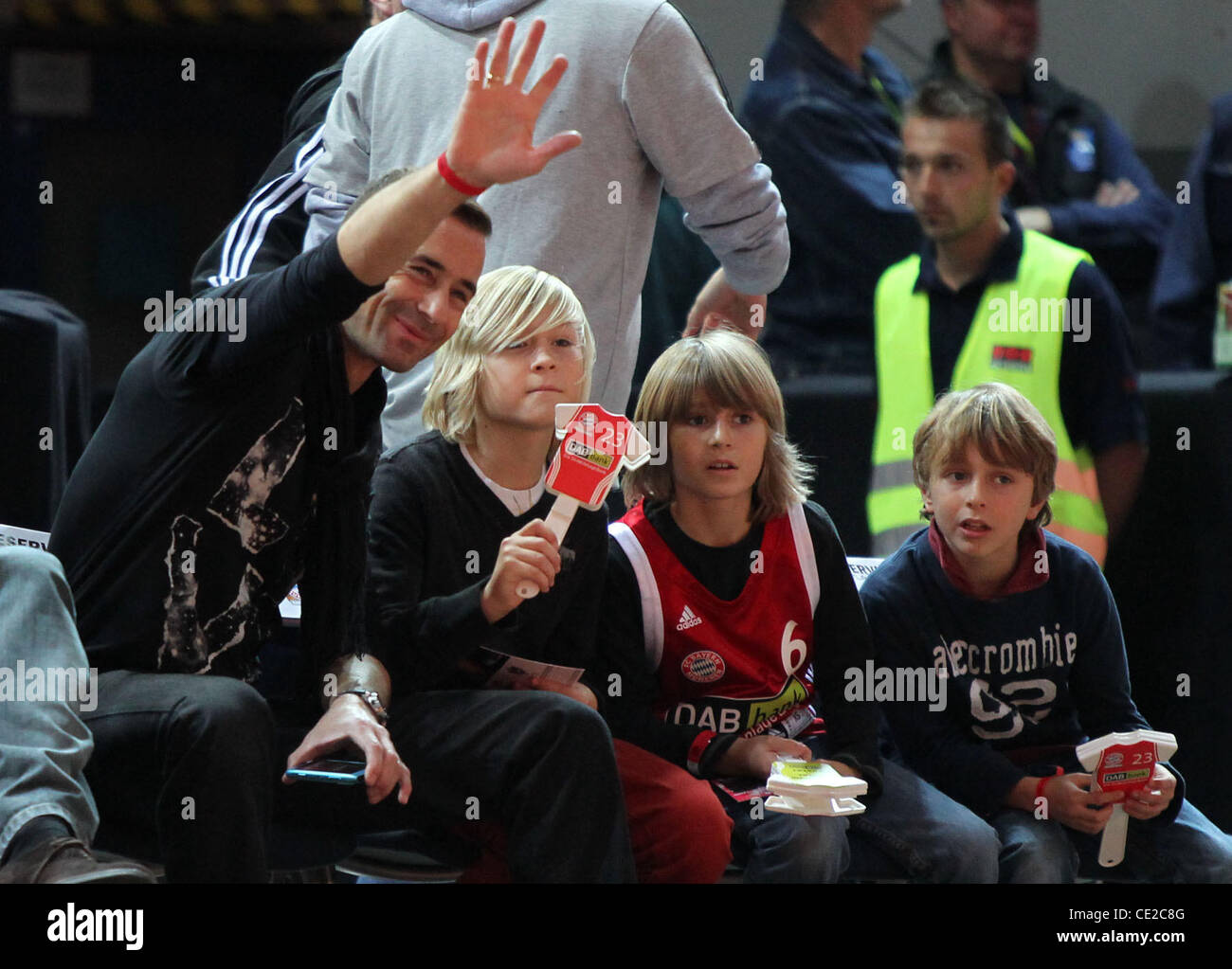 Kai Pflaume at a basketball match between FC Bayern and ETB Essen at Olymiahalle hall. Munich, Germany - 06.11.2010 Stock Photo