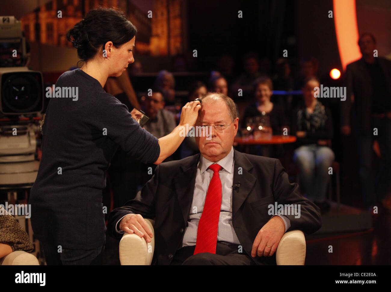 Ex Finanzminister Peer Steinbrueck has make up applied before appearing on German talkshow '3 nach 9'. Bremen, - Stock Image