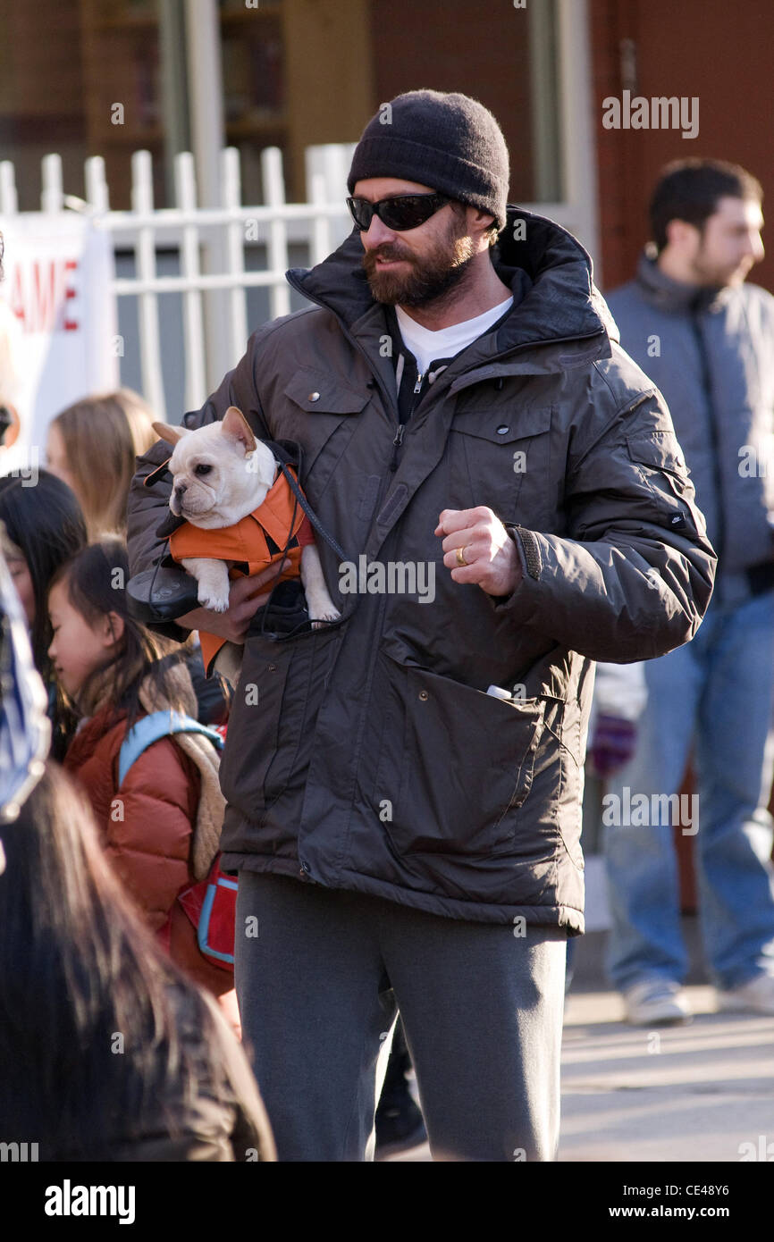 Hugh Jackman along with his wife and daughter Ava Jackman walk their dog in Manhattan New York City, USA - 06.01.11 - Stock Image