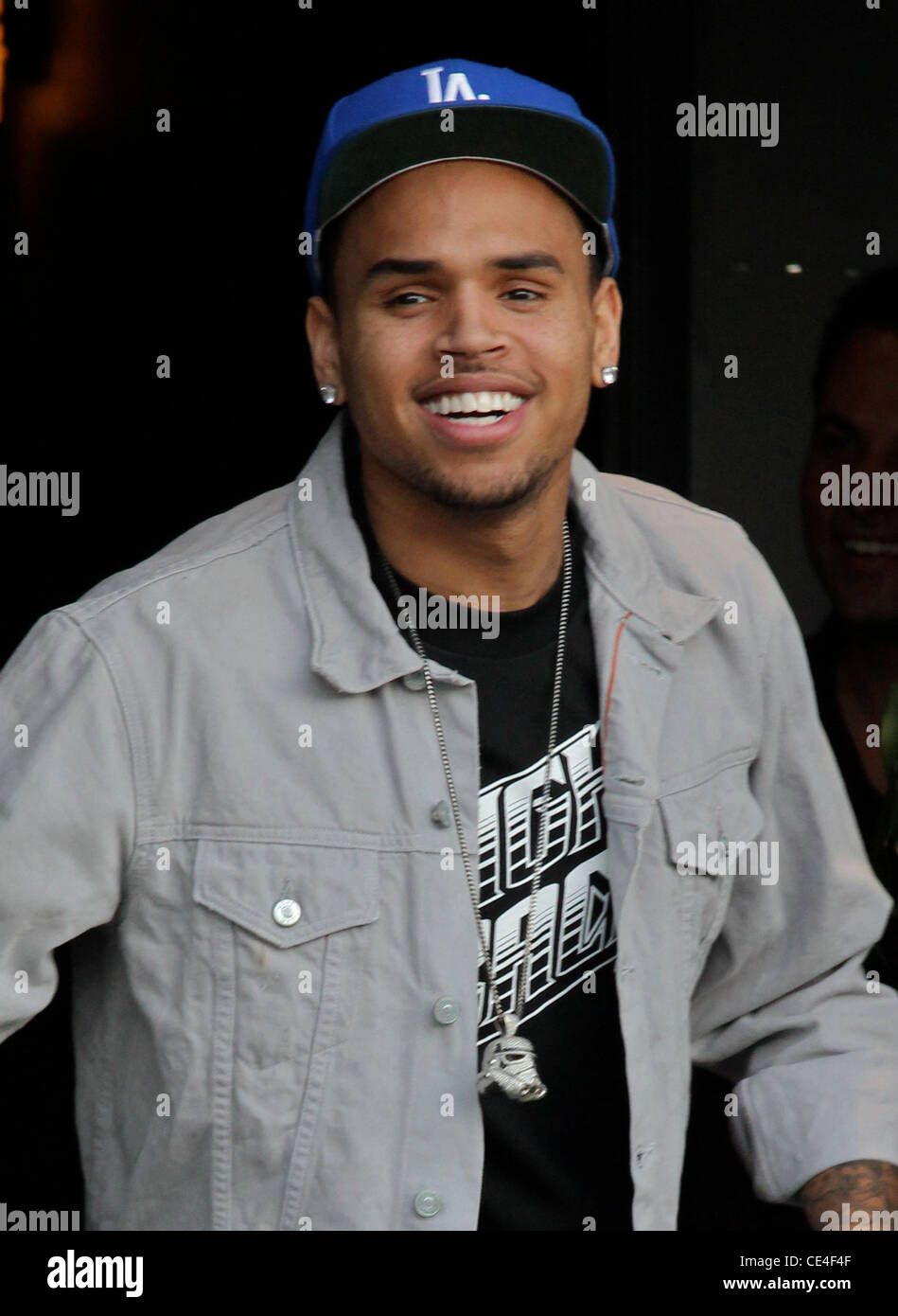 Chris Brown shows off in front of photographers outside a recording studio in Hollywood. Los Angeles, California Stock Photo