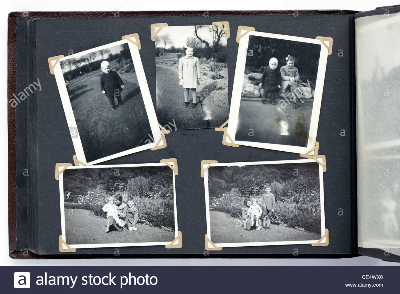 Old Photo Album With Vintage Images From The 1950s Stock Photo