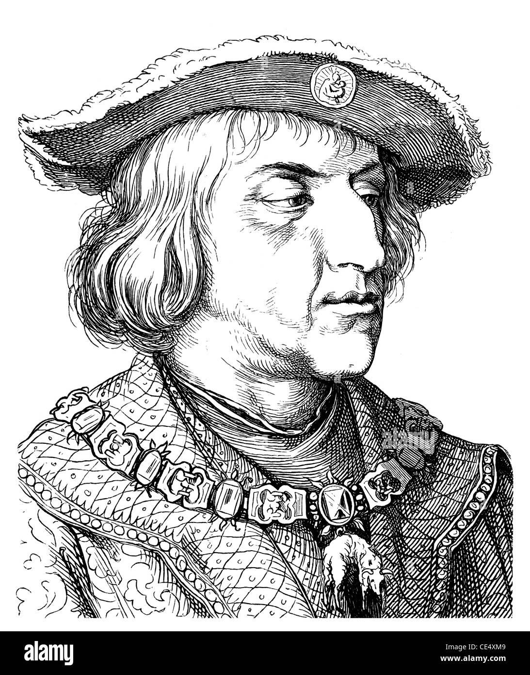 Maximilian I von Habsburg, 1459 -1519, German king, Emperor of the Holy Roman Empire - Stock Image