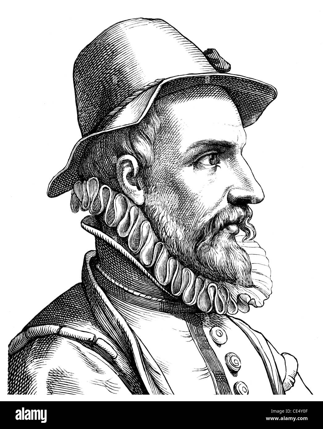 Historical drawing of the 19 th century, Johann Fischart, 1550-1591, German poet and writer - Stock Image