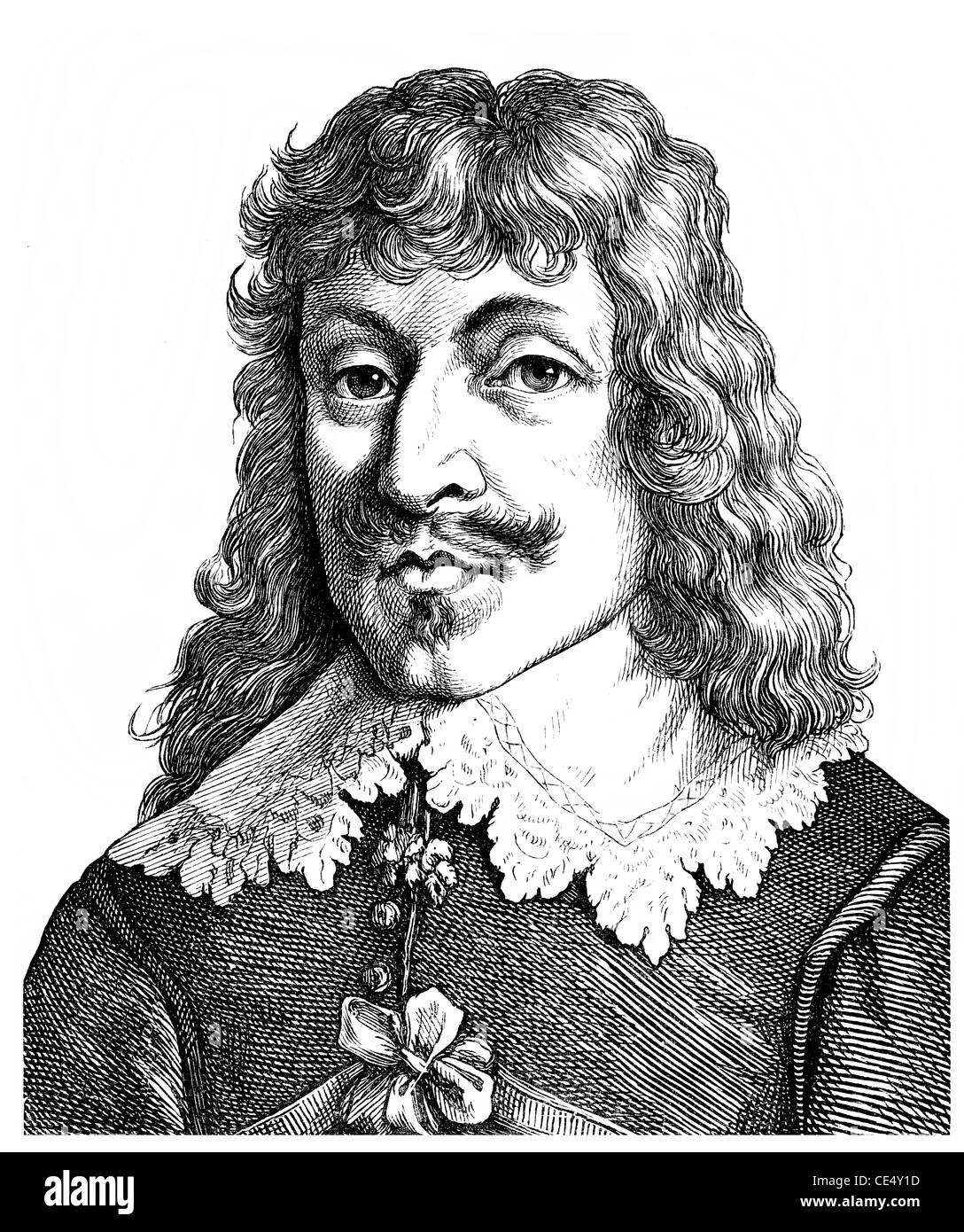 Paul Fleming, 1609 - 1640, a German physician and writer, poet of the German Baroque - Stock Image
