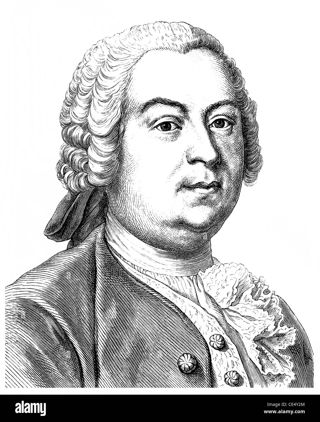 Johann Christoph Gottsched, 1700 - 1766, a German writer, dramatist and literary theorists of the Enlightenment Stock Photo